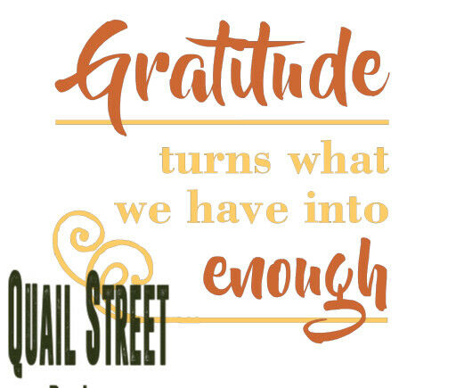 Gratitude Turns What We Have Into Enough - Vinyl Decal Free Shipping #341