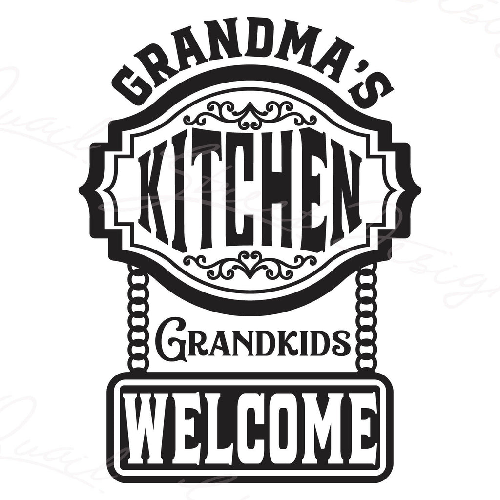 Grandma's Kitchen Grandkids Welcome - Vinyl Decal Free Shipping #1251