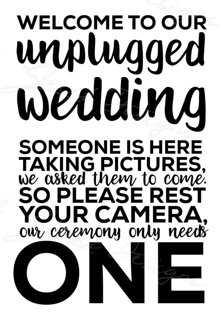 UnPlugged Wedding - No pictures please - Bridal - Bride - Vinyl Decal 1148