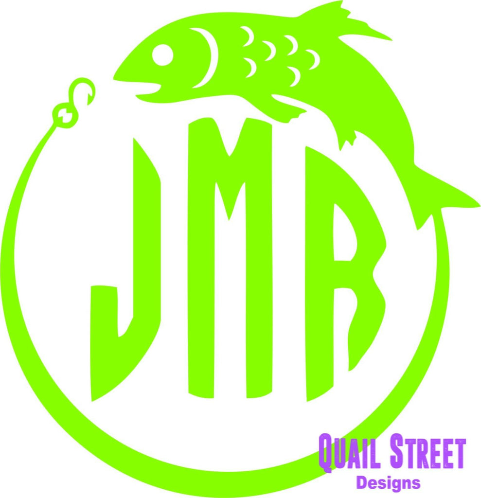 Fishing Monogram Hook  - Vinyl Decal Free Shipping #538