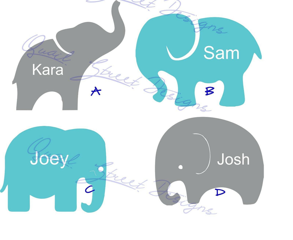 Personalized Baby Elephants - Choose View and Name - Vinyl Decal Free Shipping #1017
