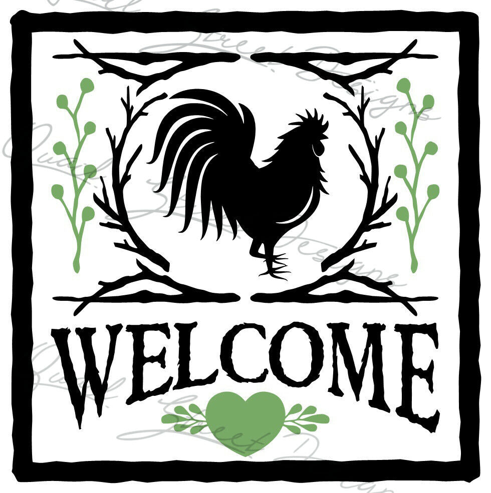 Welcome Rooster - Farmhouse - House Family Vinyl Decal Free Shipping 1309
