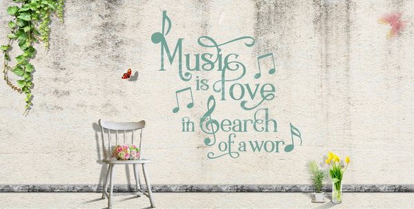Music Is Love Search For A Word  - With Notes - Vinyl Decal Free Shipping #422