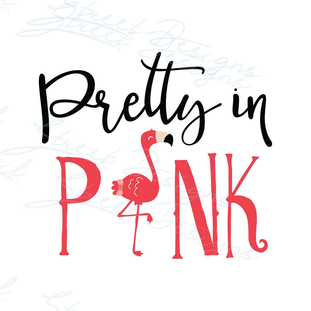 Pretty In Pink With Flamingo - Vinyl Decal Free Shipping #699