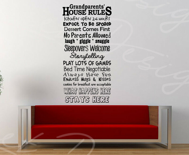 Grandparents' House Rules - Vinyl Decal Free Shipping #1054