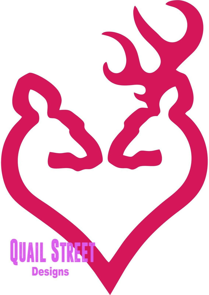 Deer Couple Heart Hunter - Vinyl Decal Free Shipping #529