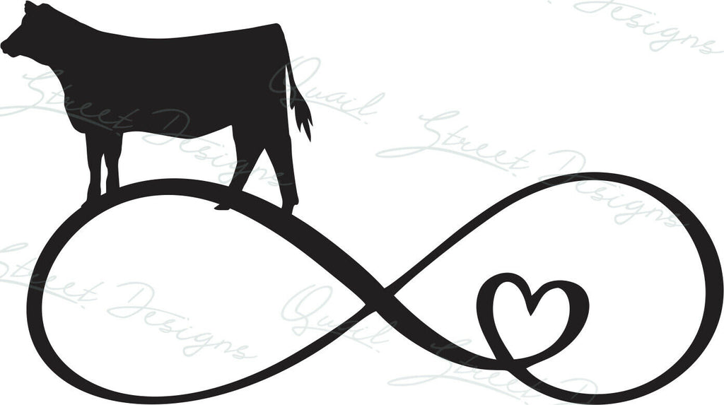 Infinity Heart Show Heifer - Vinyl Decal Free Shipping #377