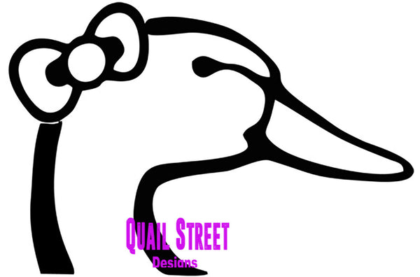 Girl Duck With Bow - Vinyl Decal Free Shipping #499