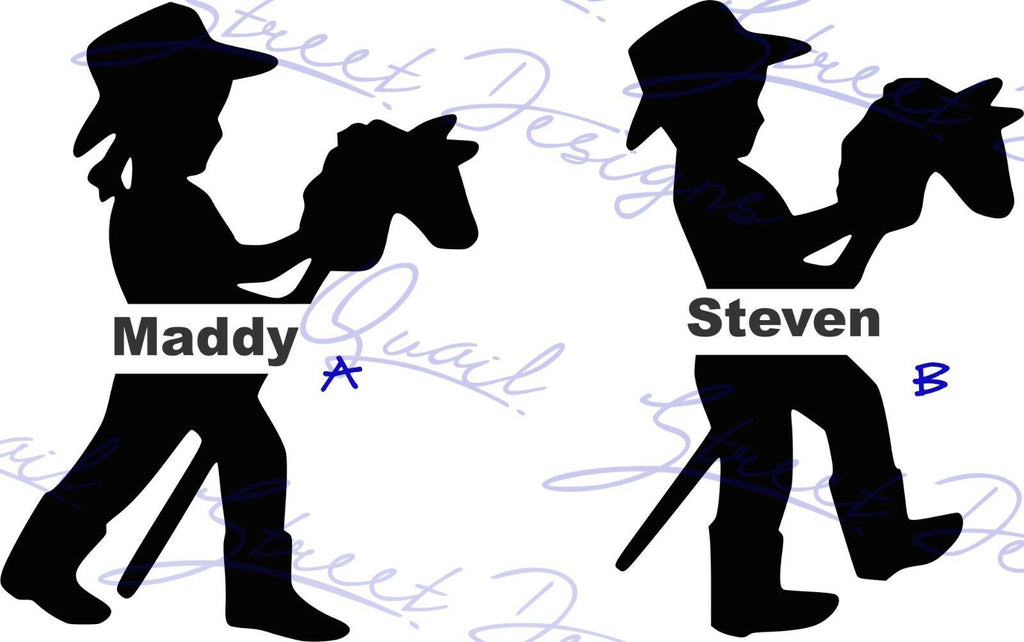 Personalized Cowboy or Cowgirl Stick Horse - Vinyl Decal Free Shipping #1013