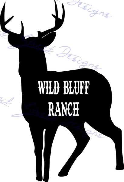 Personalized Deer Buck Silhouette - Vinyl Decal  Free Shipping #968
