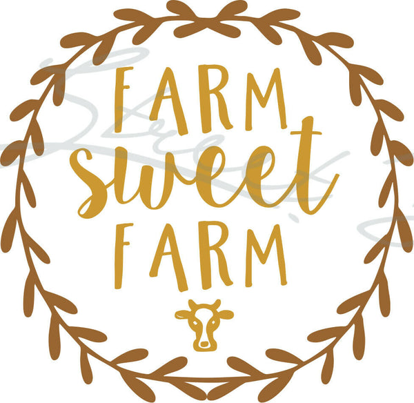Farm Sweet Farm With Cow - Vinyl Decal Free Shipping #239