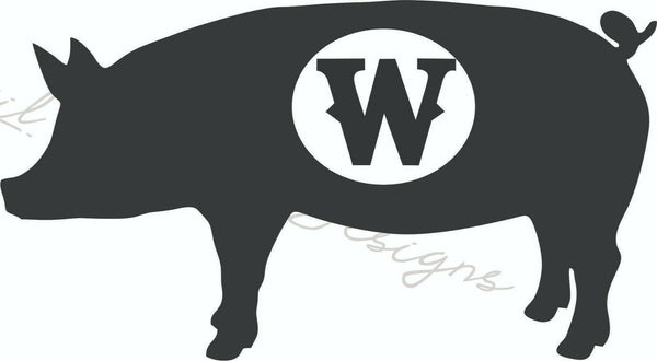Monogrammed Pig - Vinyl Decal Free Shipping #1304