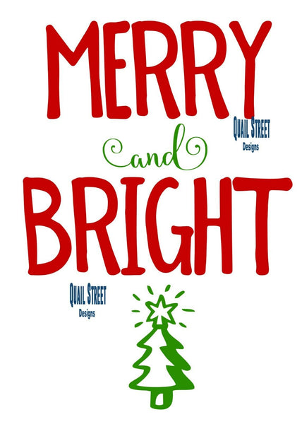 Merry and Bright Christmas Tree - Vinyl Decal Free Shipping #165