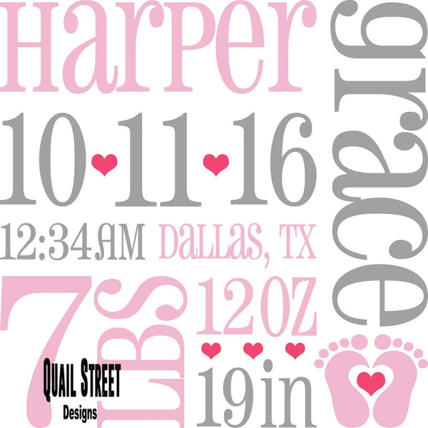 Little Baby Girl Birth Announcement Stats - Vinyl Decal Free Shipping #909