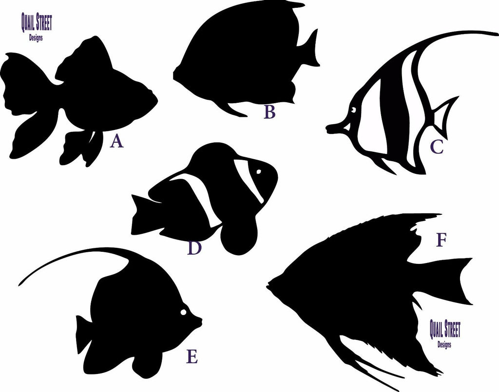 Tropical Fish - 6 Views Ocean Sea Aquarium - Vinyl Decal Free Ship 115