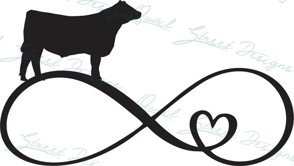 Infinity Heart Steer Cow - Vinyl Decal Free Shipping #1363