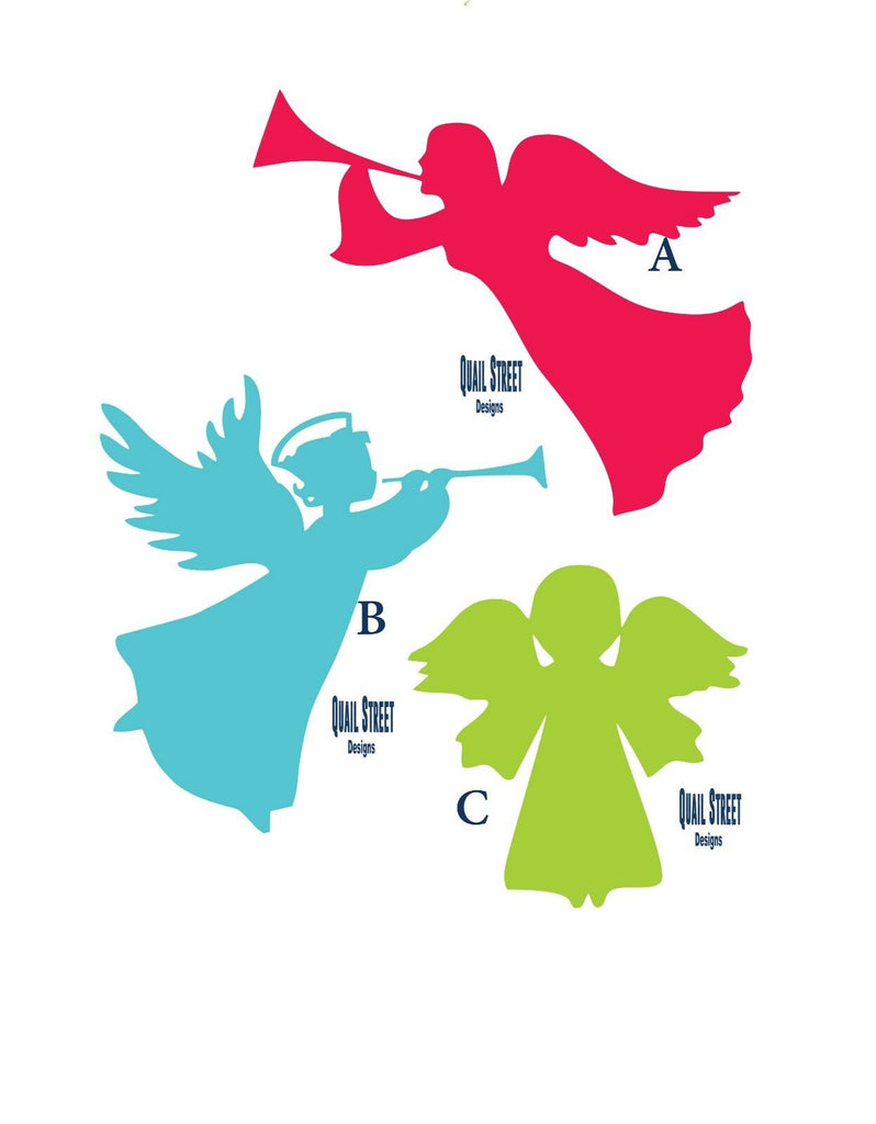 Christmas Angels - 3 Views To Choose From - Vinyl Decal Free Shipping #153
