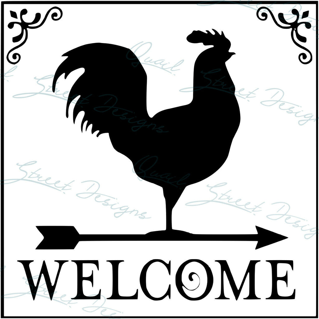 Welcome Rooster Sign - Farmhouse Chicken - Vinyl Decal Free Shipping 0001