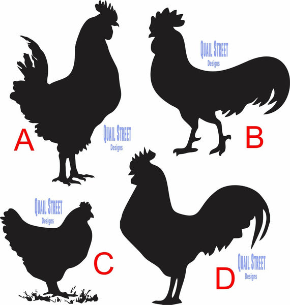 Chicken Rooster Hen Farm Silhouettes - You Pick View -  Vinyl Decal Free Shipping #13