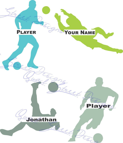 Personalized Soccer Players - Vinyl Decal Free Shipping #963