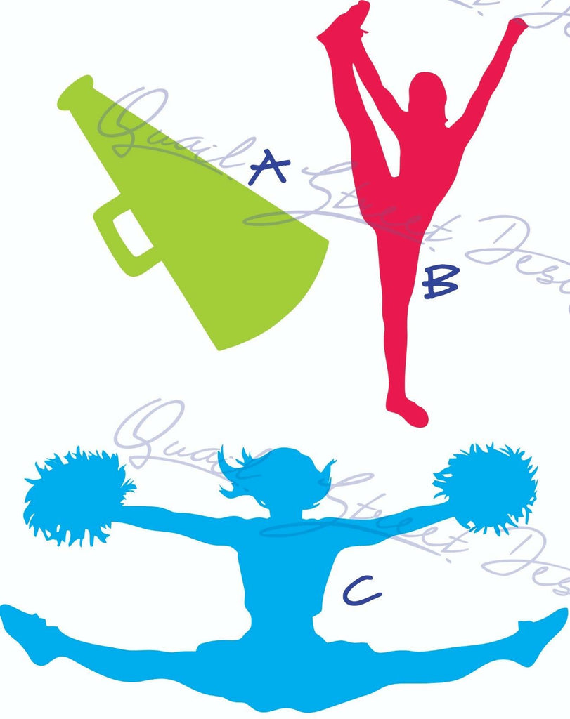 Cheerleader Cheer Silhouettes - 3 Views To Pick From - Vinyl Decal Free Ship #732