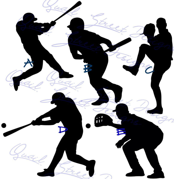 Baseball Player Silhouettes You Pick View - Vinyl Decal Free Ship #728