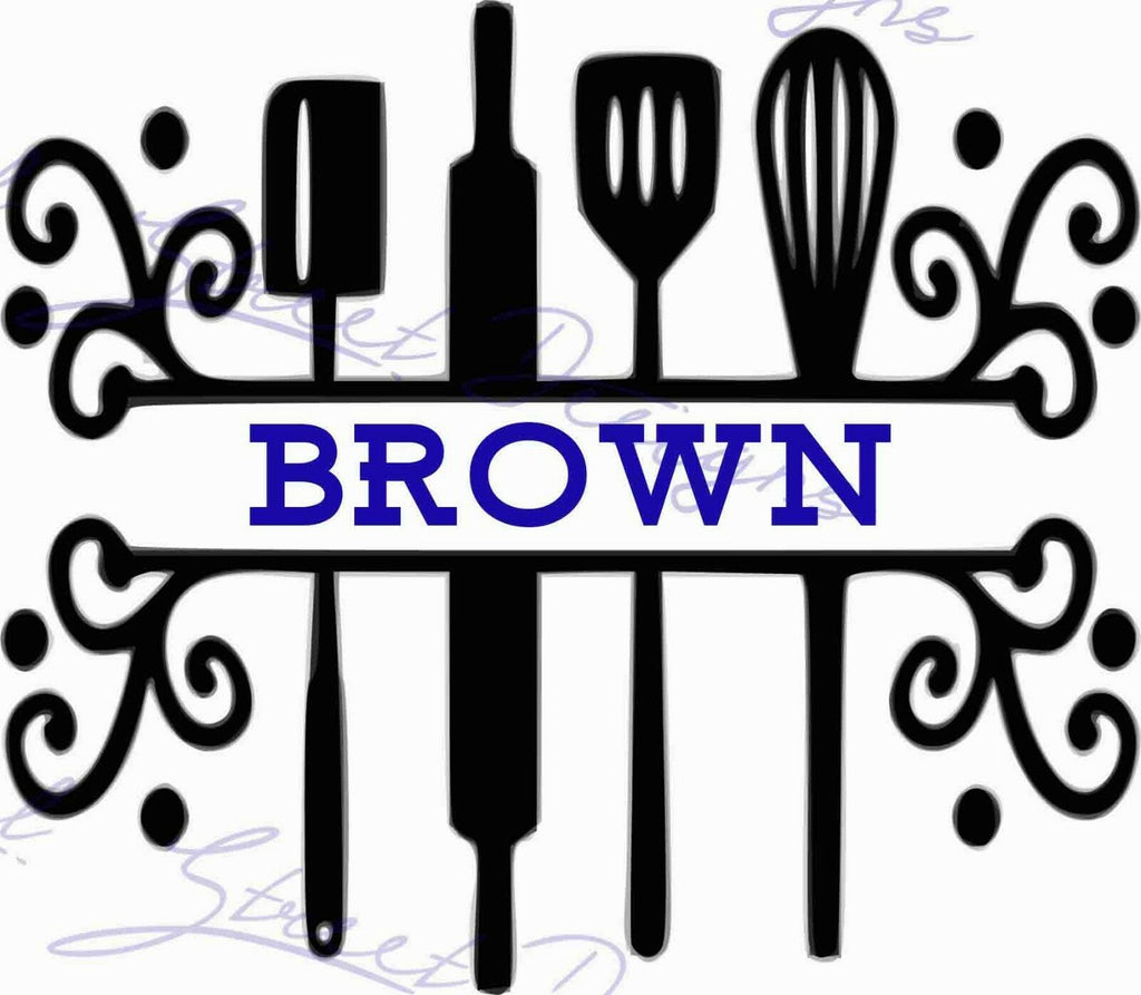 Cooking Utensils Monogrammed -  Vinyl Decal Free Shipping #1140