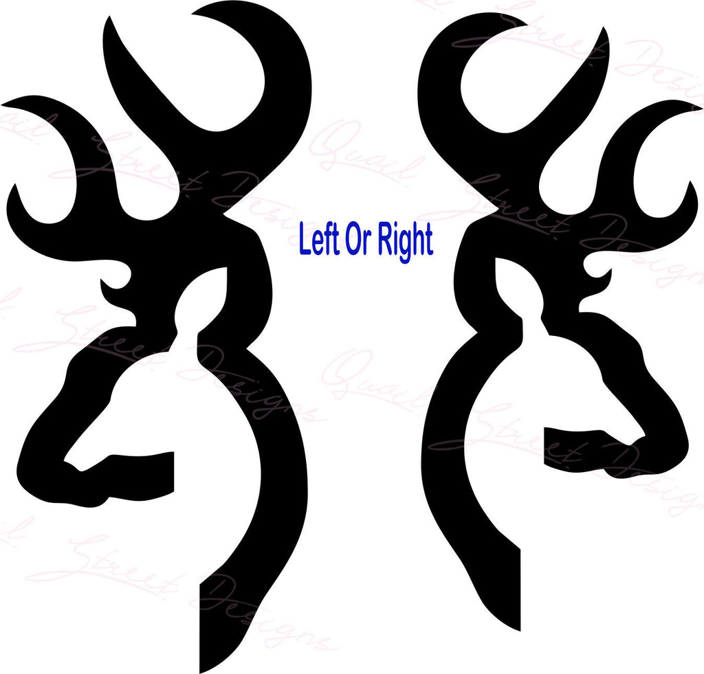 Buck Deer Head Silhouette - Left or Right You Choose - Vinyl Decal Free Shipping #15