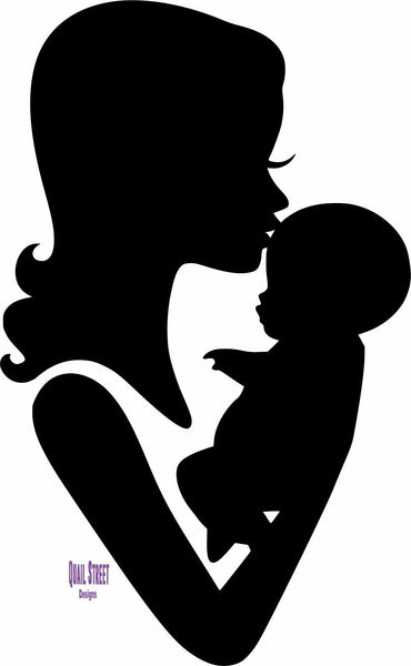 Mom and Baby Forehead Kiss Silhouette - Vinyl Decal Free Shipping #80