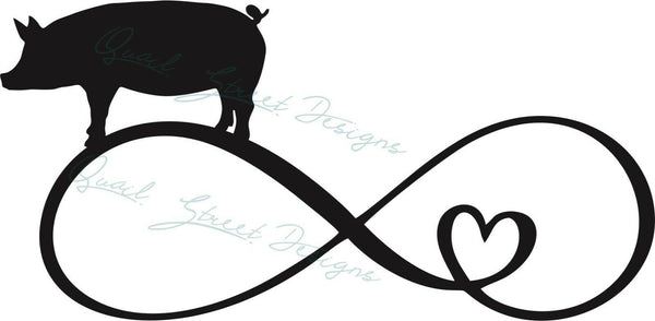 Infinity Heart Pig - Vinyl Decal Free Shipping #1360