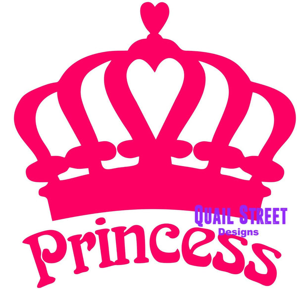 Princess With Crown - Vinyl Decal Free Shipping # 664