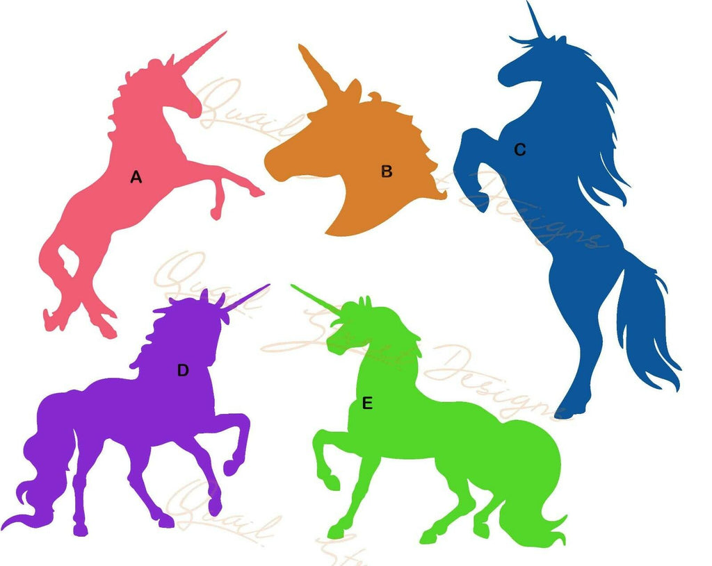 Unicorns - 5 Different Views - Magical Fairy Horse Vinyl Decal Free Ship 801