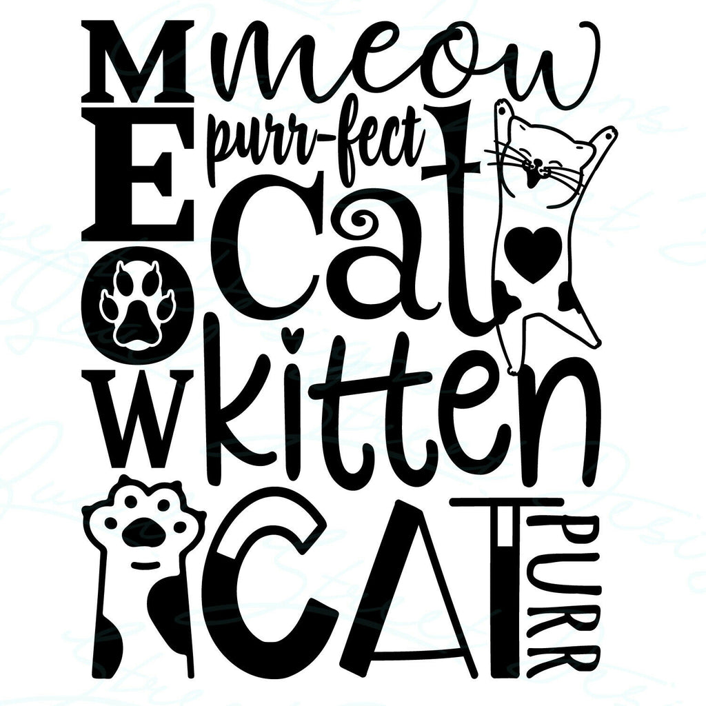 Meow Cat - Subway Art - Vinyl Decal Free Shipping #2016