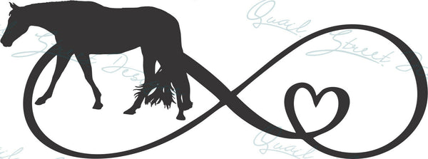 Infinity Heart Horse - Vinyl Decal Free Shipping #1366