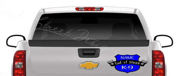 K-9 Police Dog End of Watch Memorial - Vinyl Decal Free Shipping #439