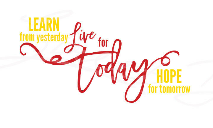 Learn From Yesterday Live For Today Hope For Tomorrow - Vinyl Decal  Free Shipping #383