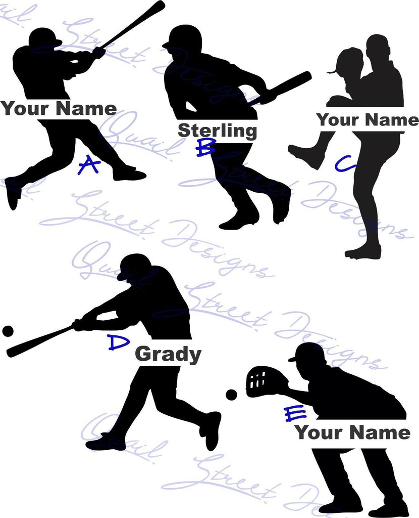 Personalized Baseball Players  - Catcher Pitcher Batter - Vinyl Decal Free Shipping #946