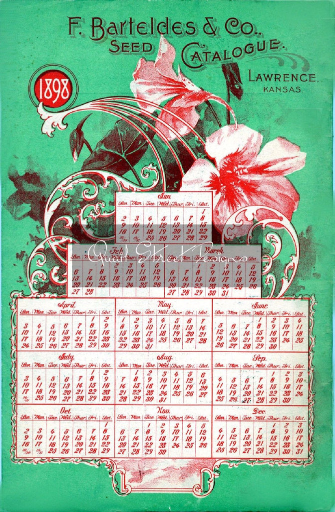 Vintage Seed Catalog - Reprint:  Back of Bartelde Plant & Seed Guide 8X10 - 1898