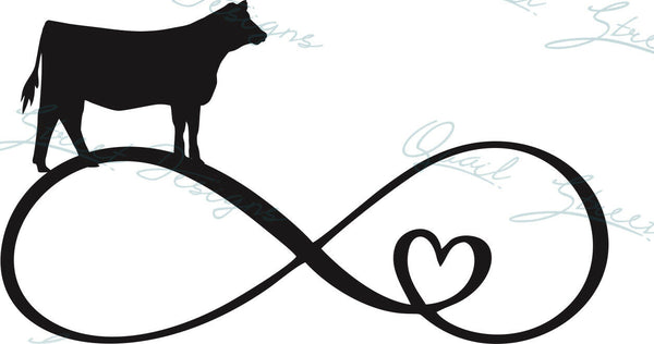 Infinity Heart Heifer - Vinyl Decal Free Shipping #1349