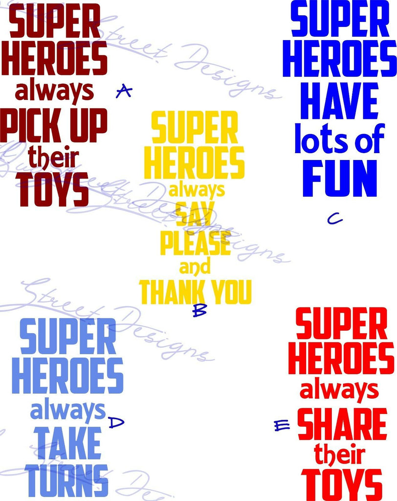 Superhero Signs for Kids - Pick Up Toys, Share, Take Turns - Vinyl Decal  752