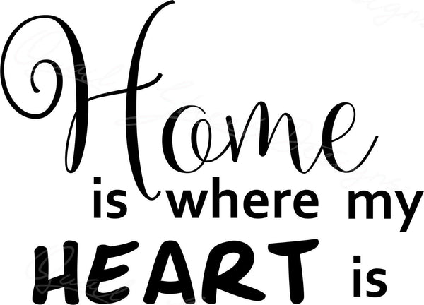 Home Is Where My Heart Is - Vinyl Decal Free Shipping #1055