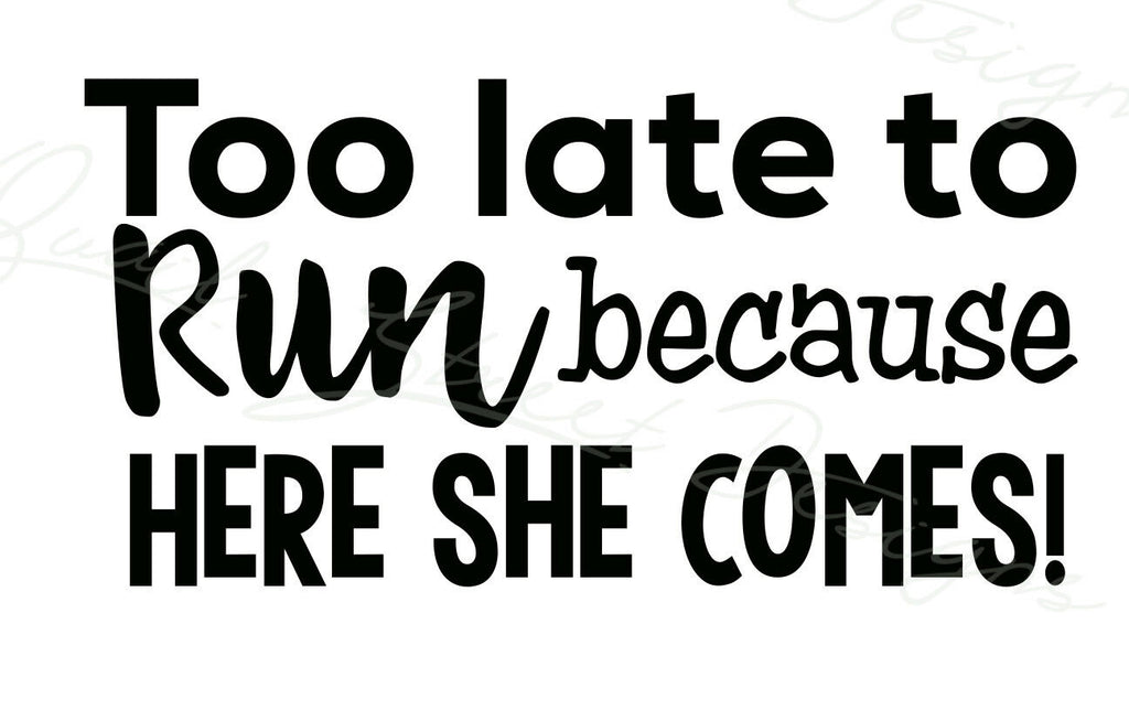 Too Late To Run Because Here She Comes  - Wedding Vinyl Decal Free Shipping 010