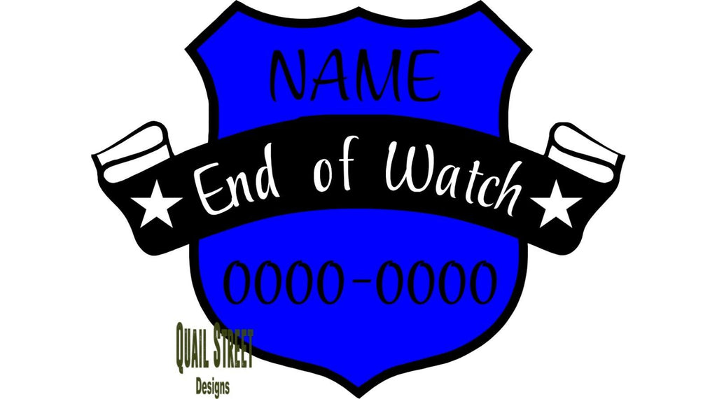 Police End of Watch Memorial - Vinyl Decal Free Shipping #438