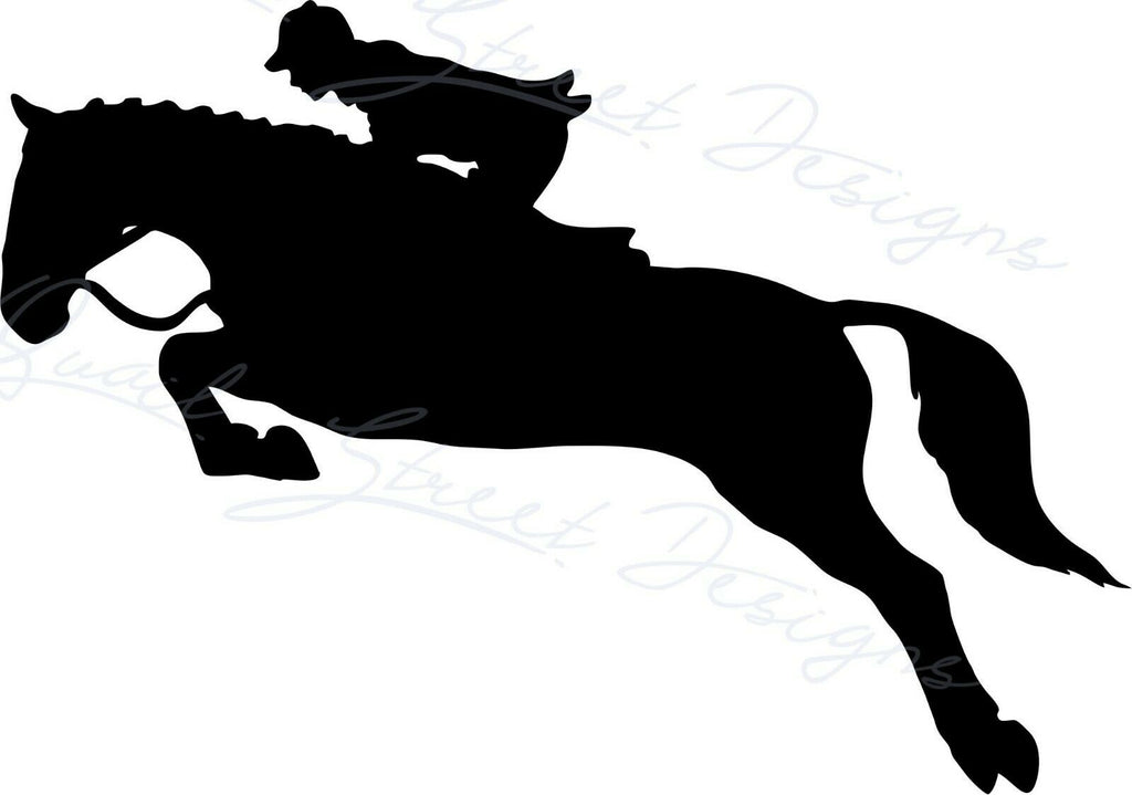 Hunter Jumper Horse & Rider - Vinyl Decal Free Shipping #2002