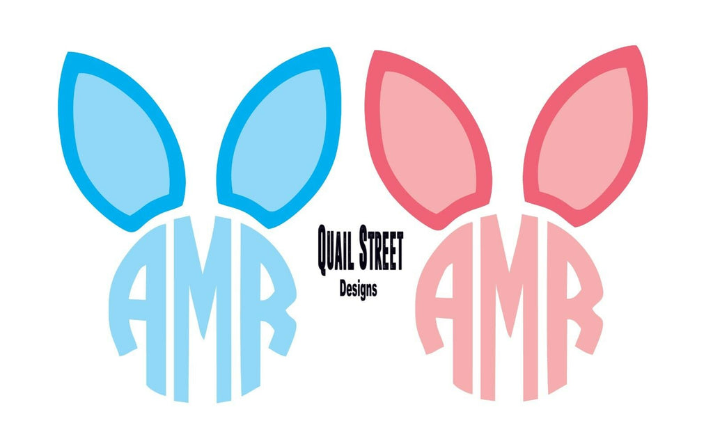 Monogram Easter Bunny Rabbit Ears Boy or Girl - Vinyl Decal Free Shipping #185