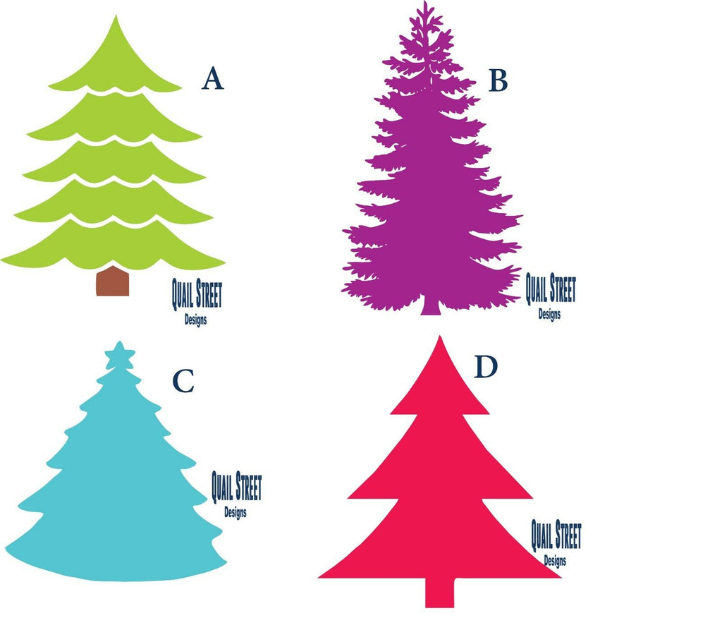 Christmas Trees  - 4 Views To Choose From - Vinyl Decal Free Shipping #156
