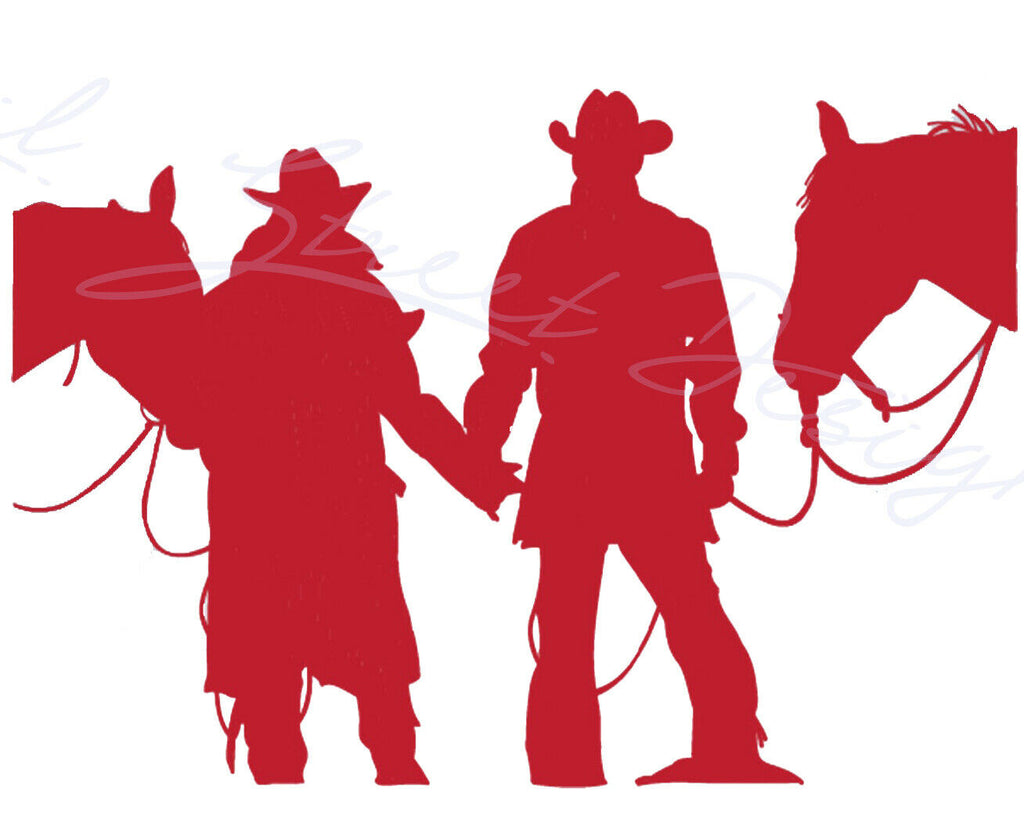 Western Couple Cowboy Cowgirl Silhouette Horse - Vinyl Decal Free Shipping 1987