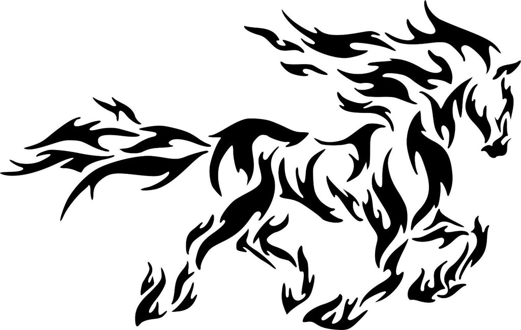 Fire Flame Running Horse  - Vinyl Decal Free Shipping #59
