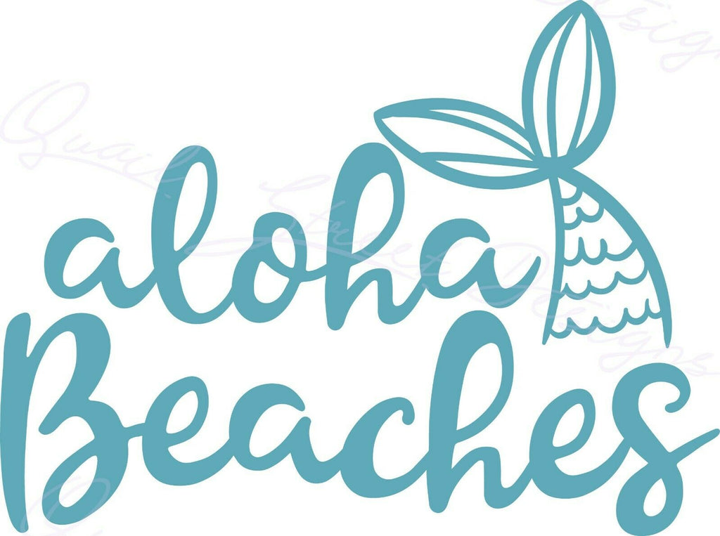 Aloha Beaches - Summer Ocean Tropical Mermaid - Vinyl Decal Free Shipping #1472