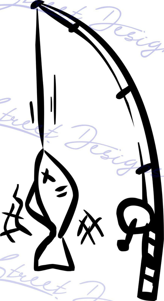 Fishing Pole - Vinyl Decal Free Shipping #981